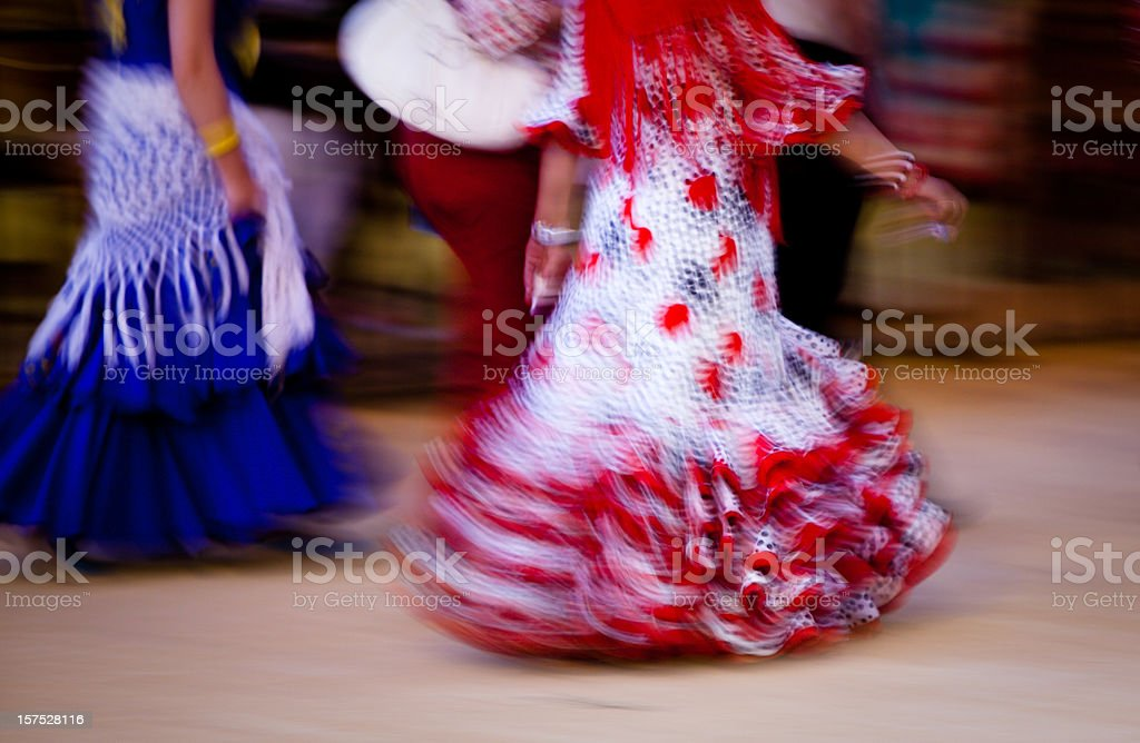 Flamenco dress - motion blur stock photo