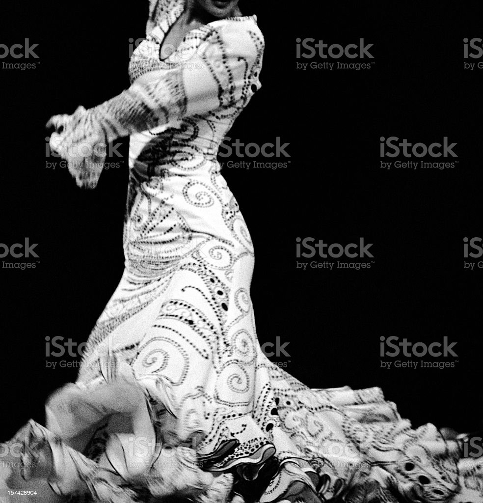 Flamenco dressed in white stock photo