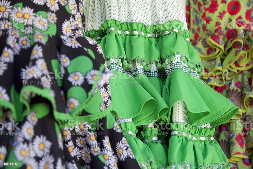 Flamenco Dresses in Andalusia. Different type of tissue royalty-free stock photo