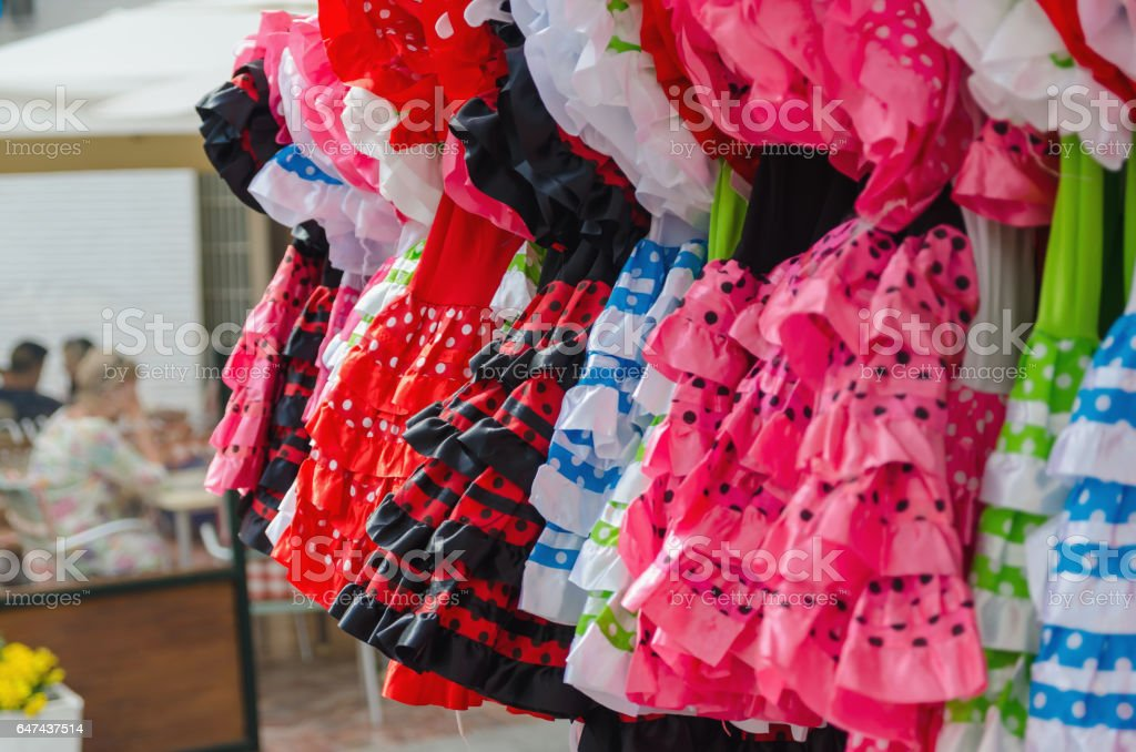 Flamenco dresses stock photo