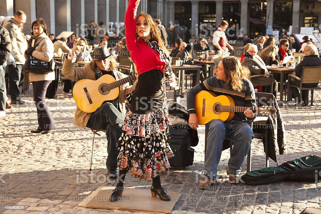 Flamenco group performing on Plaza Mayor stock photo