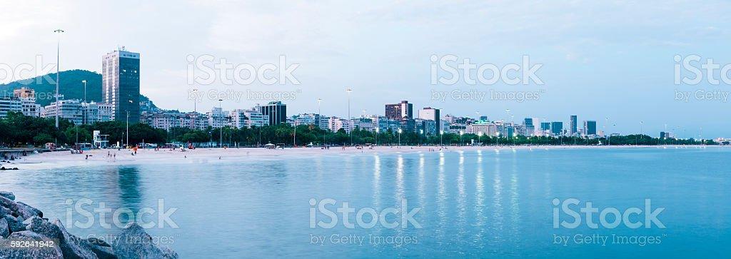 Flamengo Beach skyline at dusk, Rio de Janeiro, Brazil stock photo