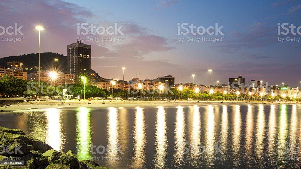 Flamengo Beach skyline at night, Rio de Janeiro, Brazil stock photo