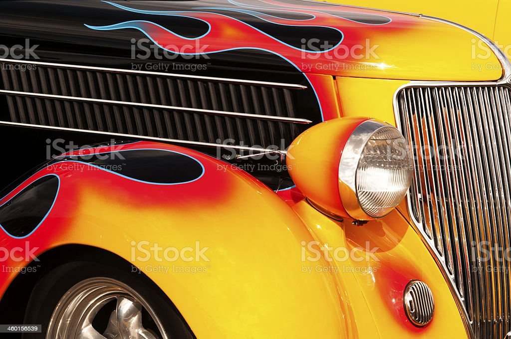 Flames and Chrome Hot Rod stock photo