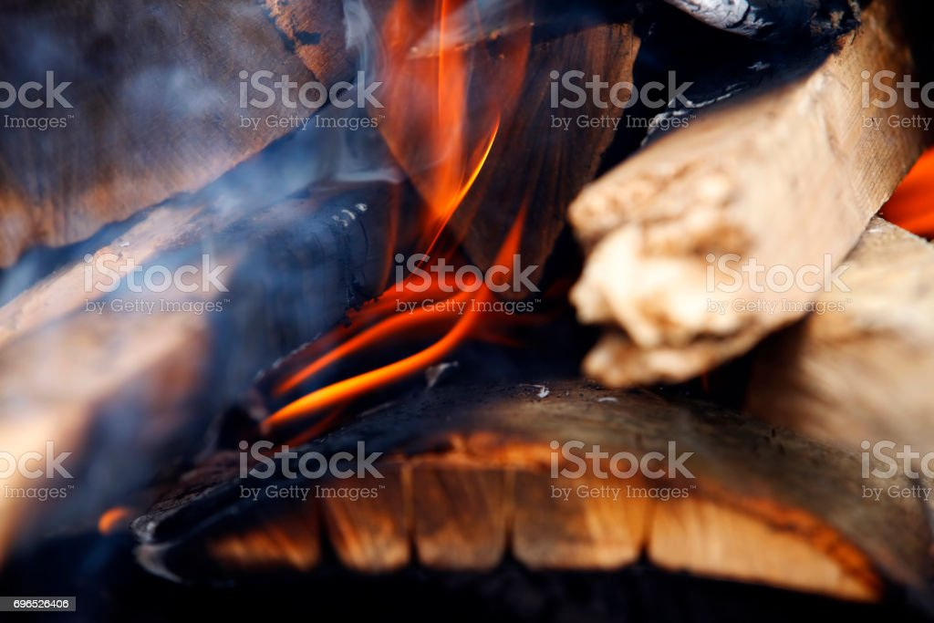 Flames and glow in a wood burner stock photo