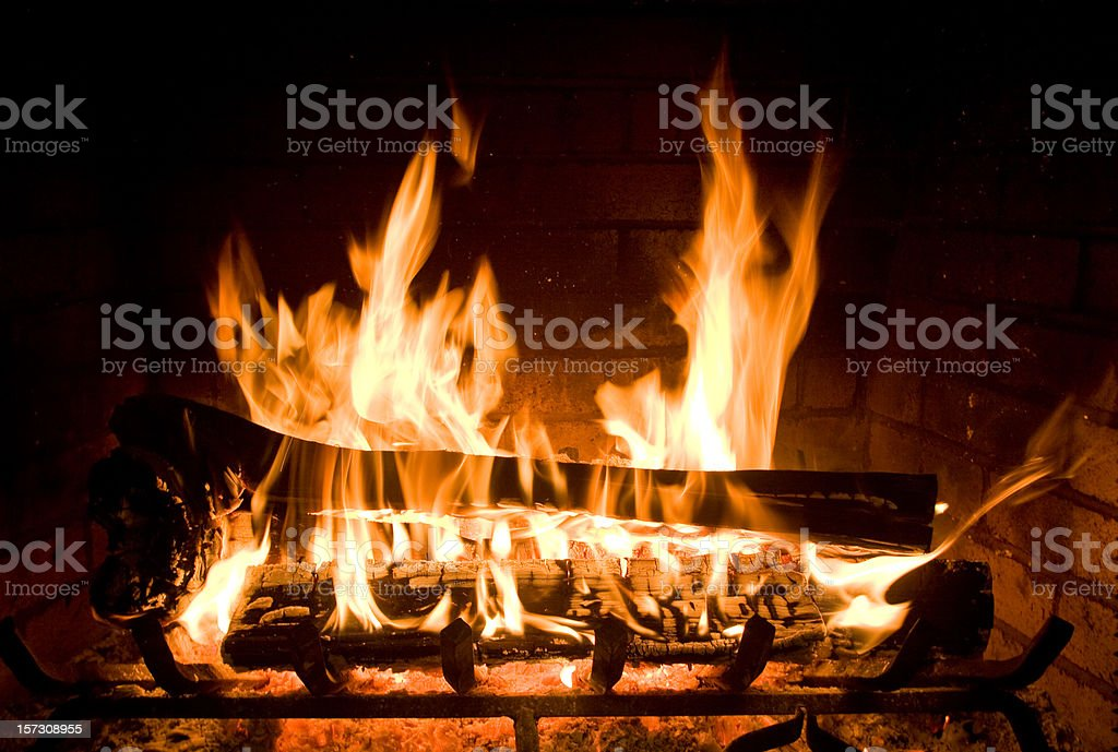 Flames Burning in Fireplace stock photo
