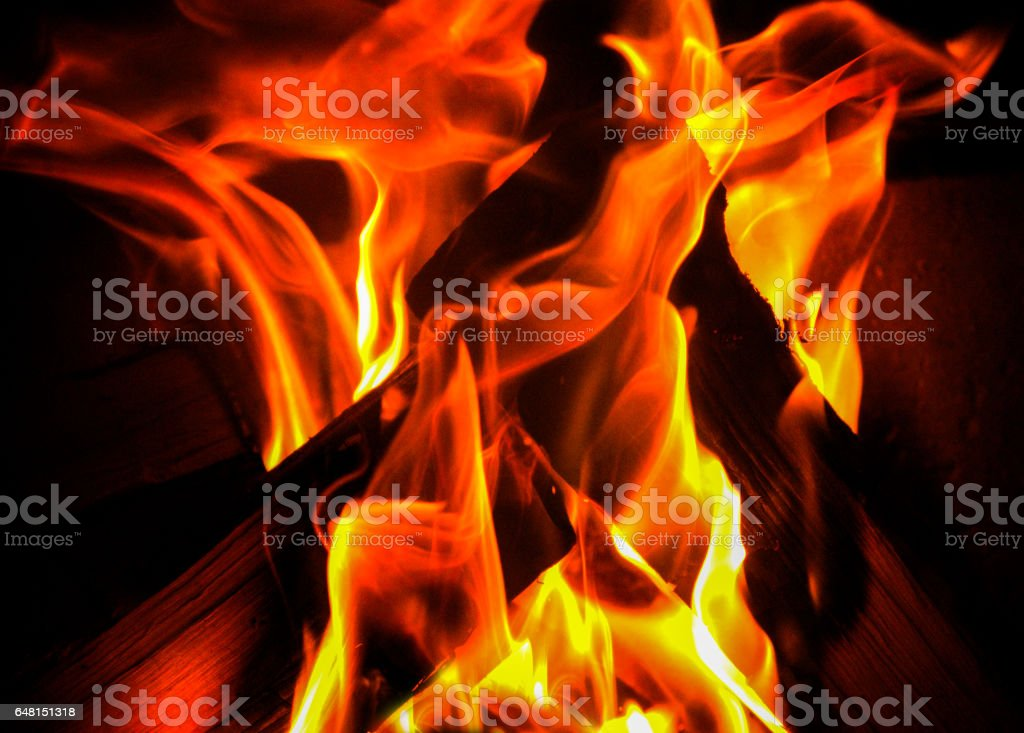 flames from a wooden fire, close up of flames stock photo