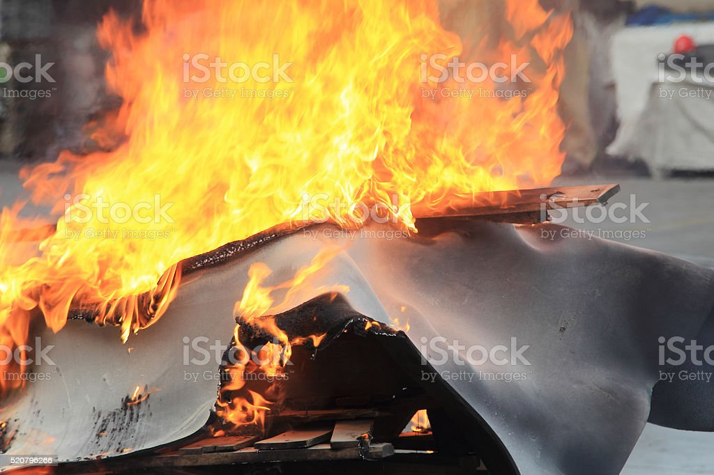 Flames in a fire drill stock photo