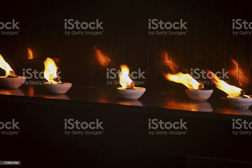 Flames in a Hindu Temple royalty-free stock photo