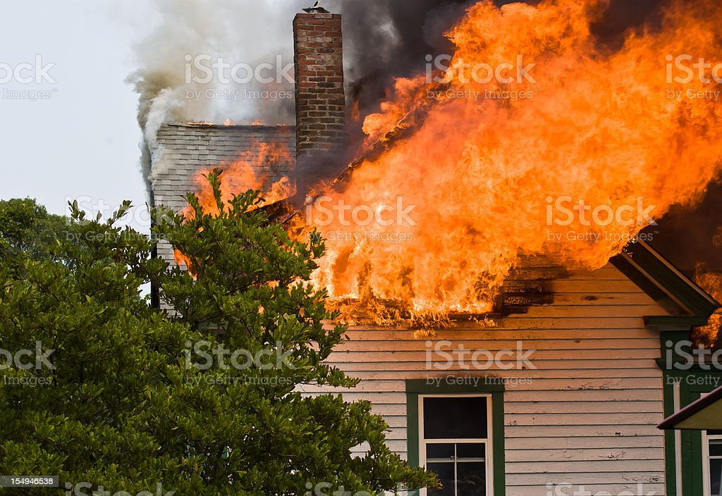 Flames in the Attic stock photo