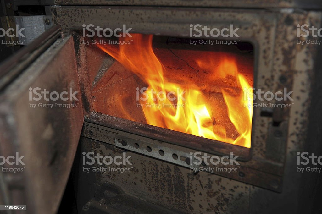 Flames in the furnace stock photo