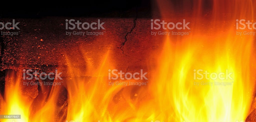 Flames in the furnace royalty-free stock photo
