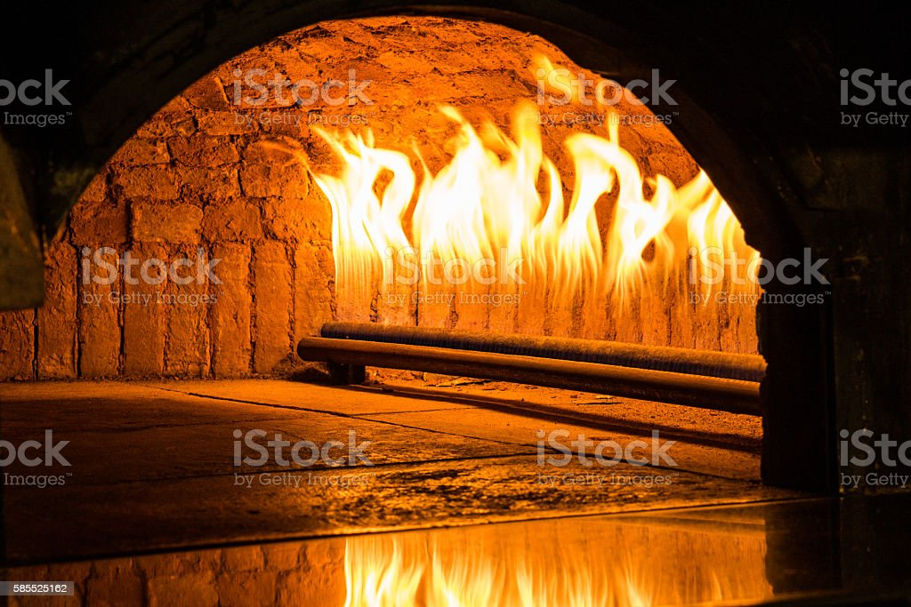 Flames in the Oven which works with natural gas. stock photo