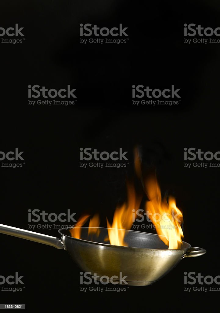 Flames in wok royalty-free stock photo