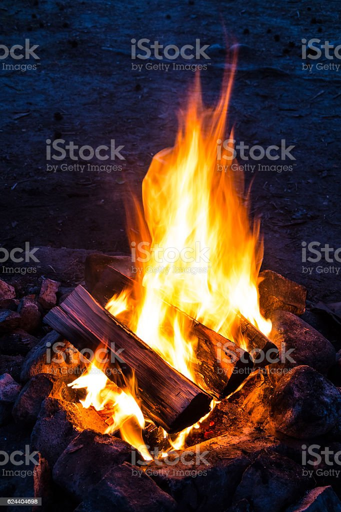 Flames of campfire stock photo