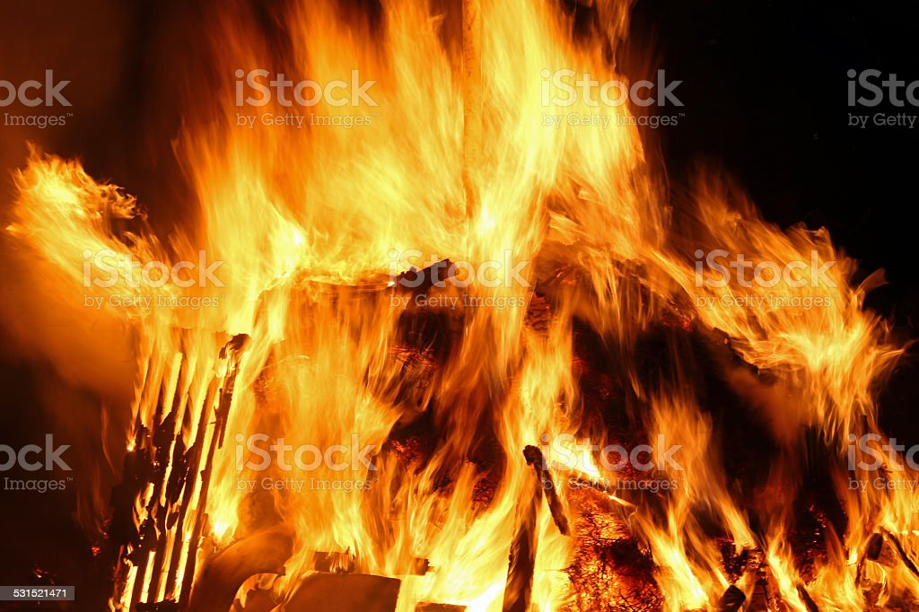 flames of fire during a scary fire of a dwelling stock photo