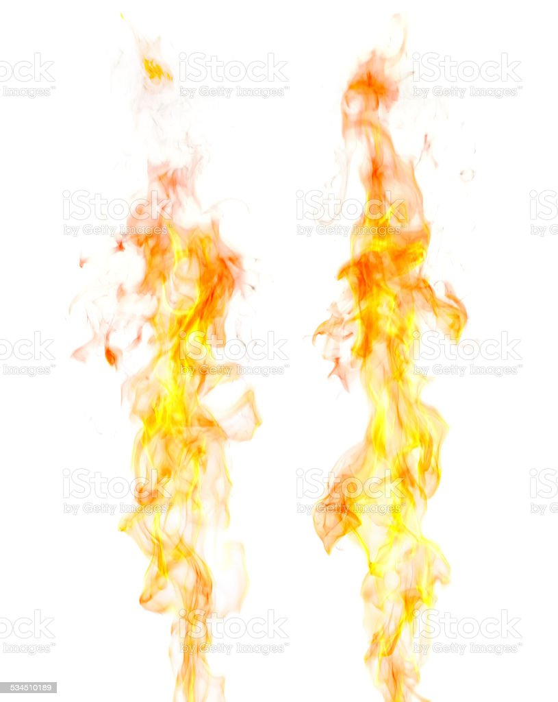 Flames, white background stock photo