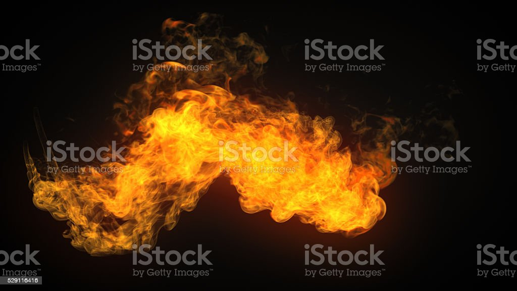flamethrower fire isolated on dark background stock photo