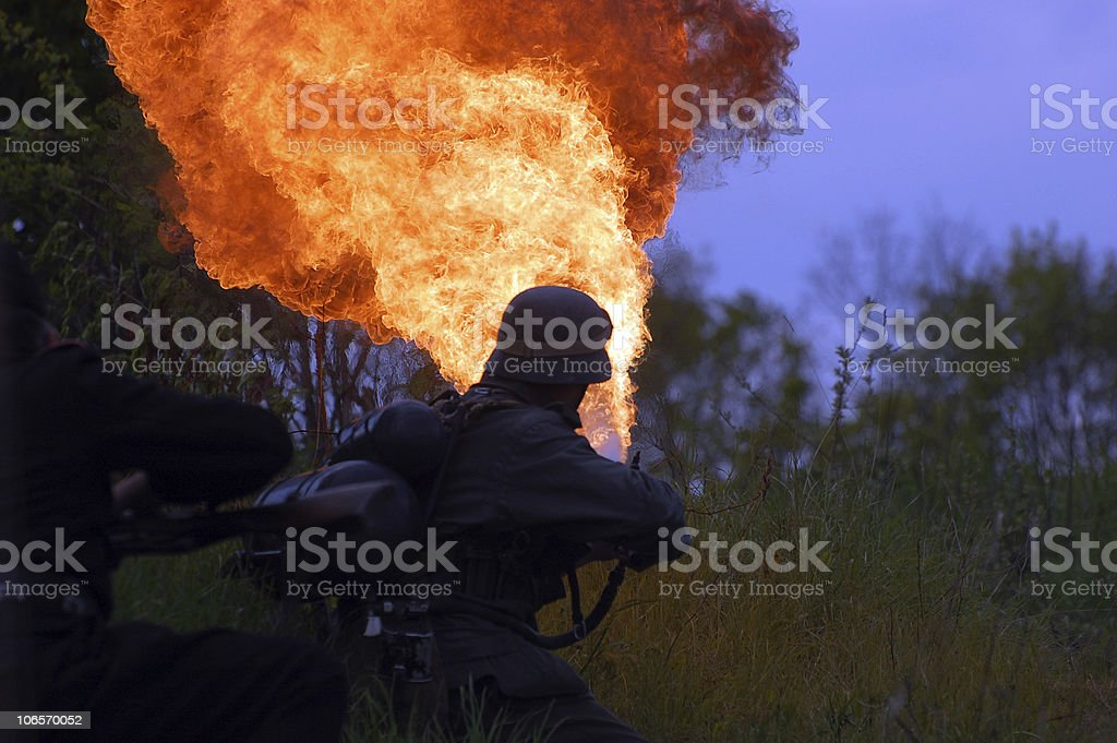 Flame-thrower stock photo
