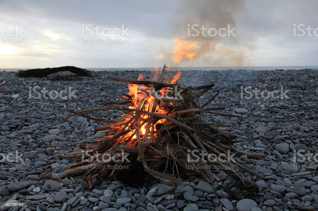 Flaming Active Fire On Beach stock photo