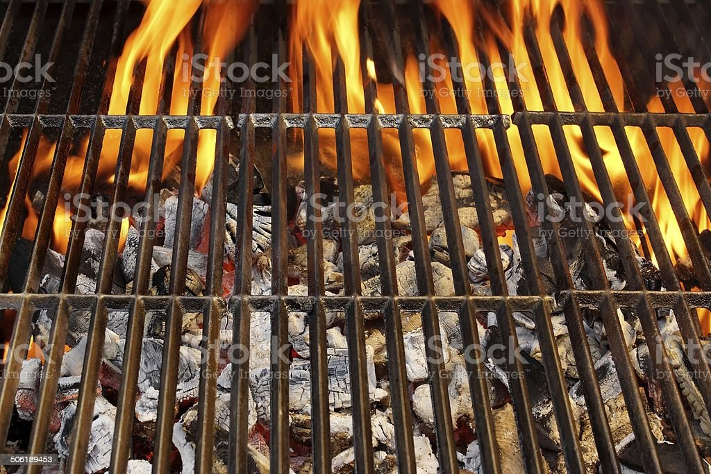 Flaming Barbecue Grill stock photo