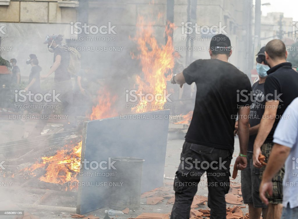 Flaming barricades in Athens stock photo