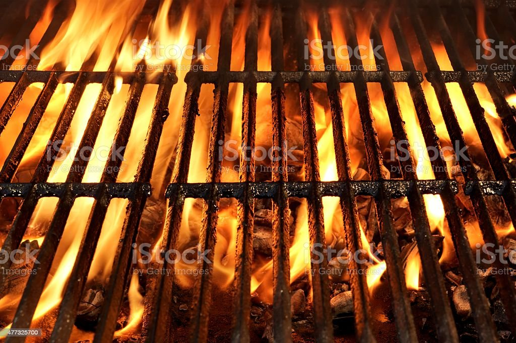 Flaming BBQ Charcoal Grill Background stock photo