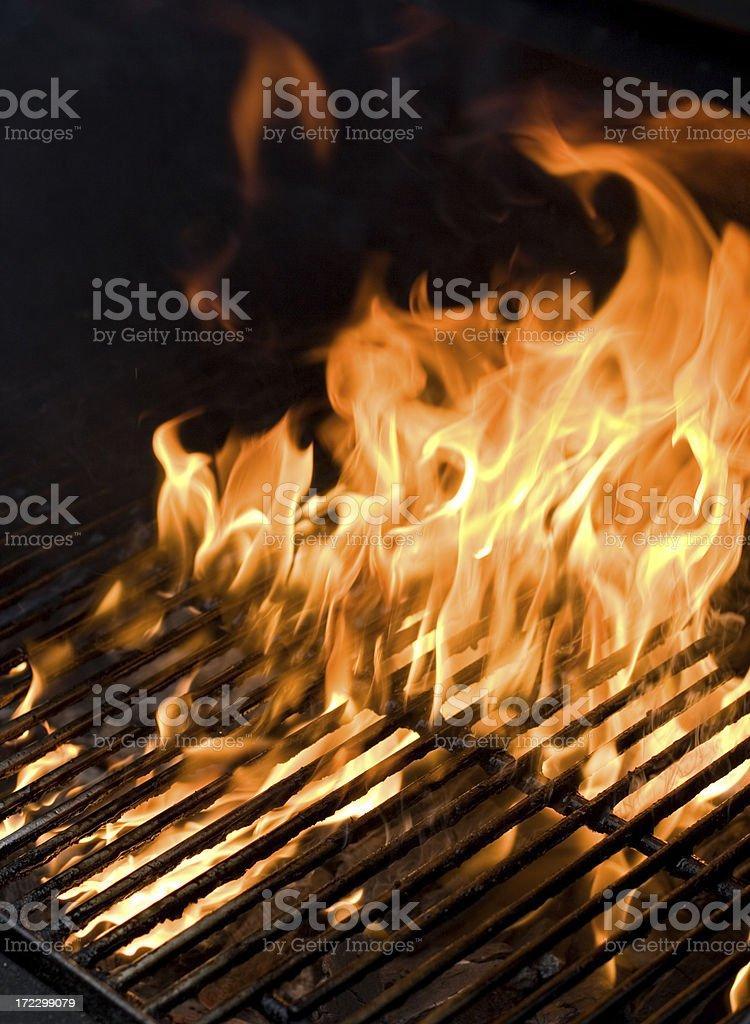 Flaming BBQ royalty-free stock photo