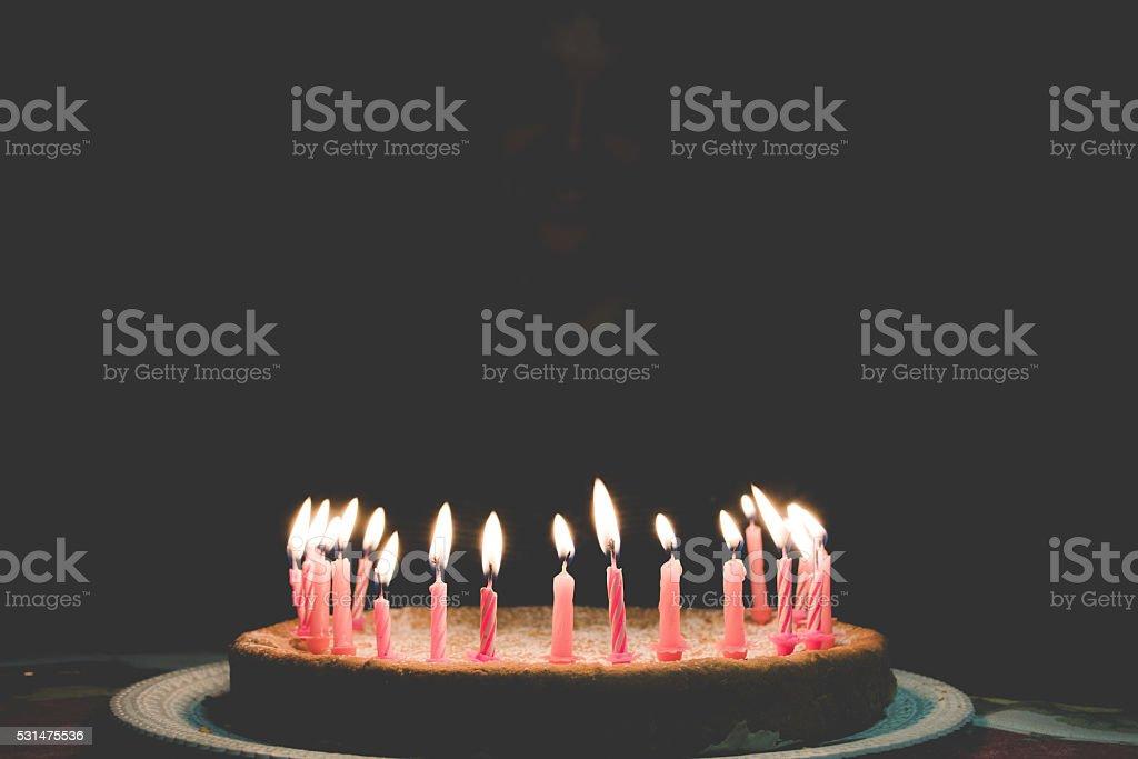 Flaming Birthday Candles stock photo
