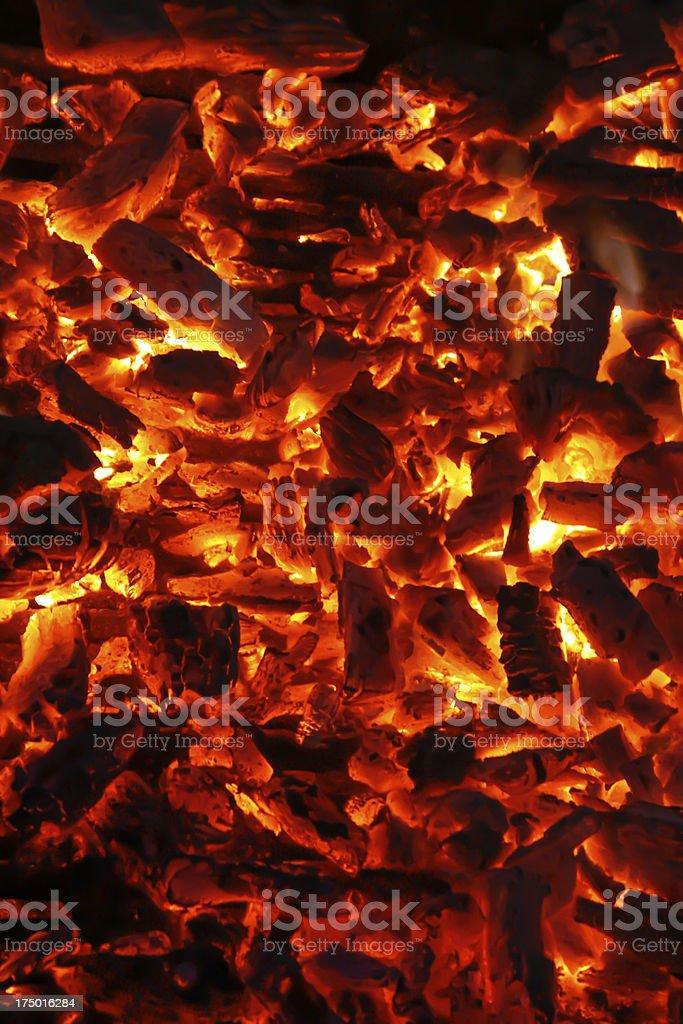 Flaming charcoal stock photo