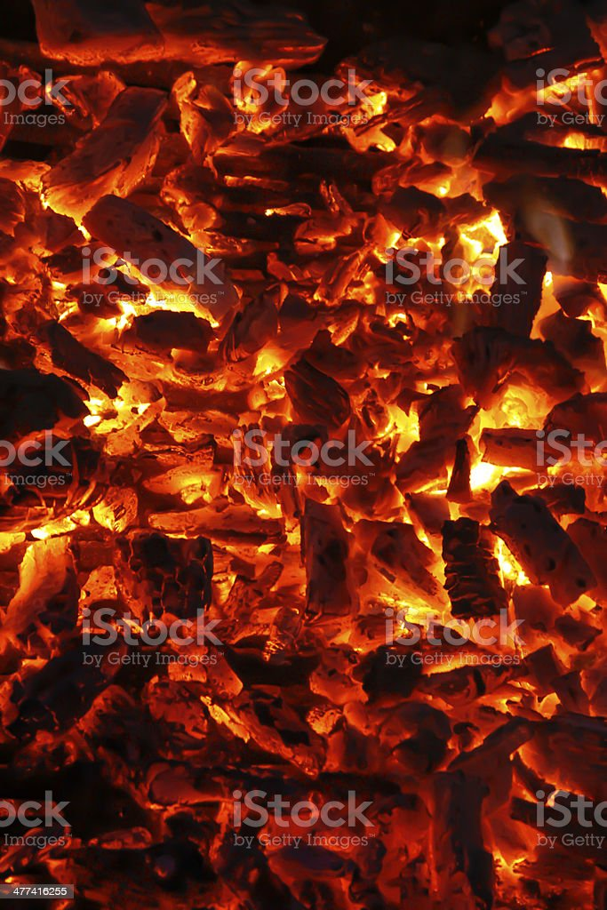 Flaming charcoal stock photo