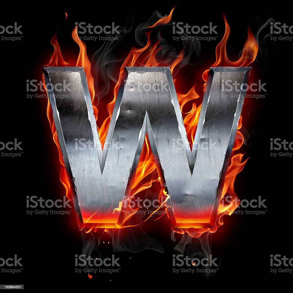 Flaming chrome w logo on black background royalty-free stock photo