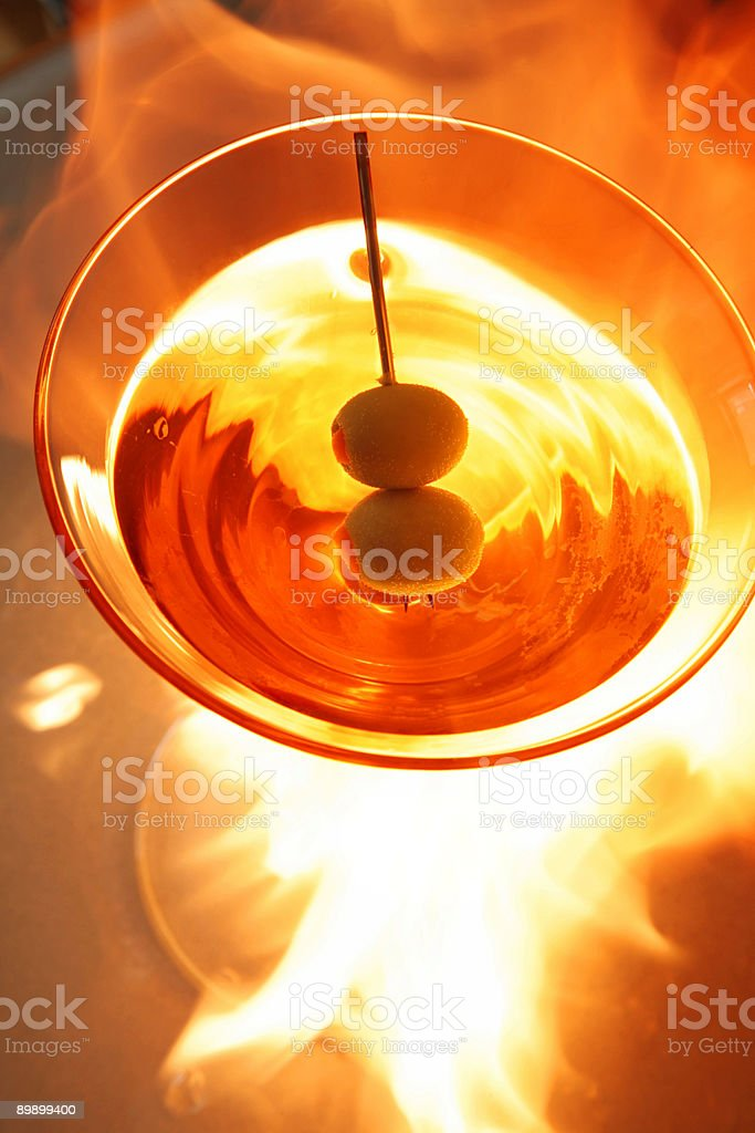 Flaming Cocktail royalty-free stock photo