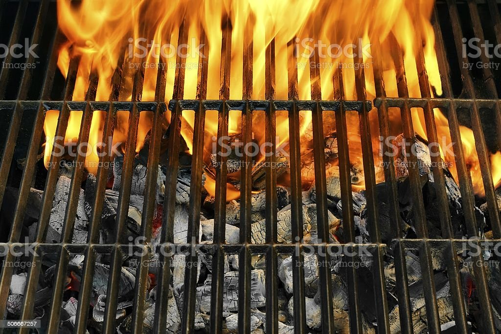 Flaming Empty BBQ Grill stock photo