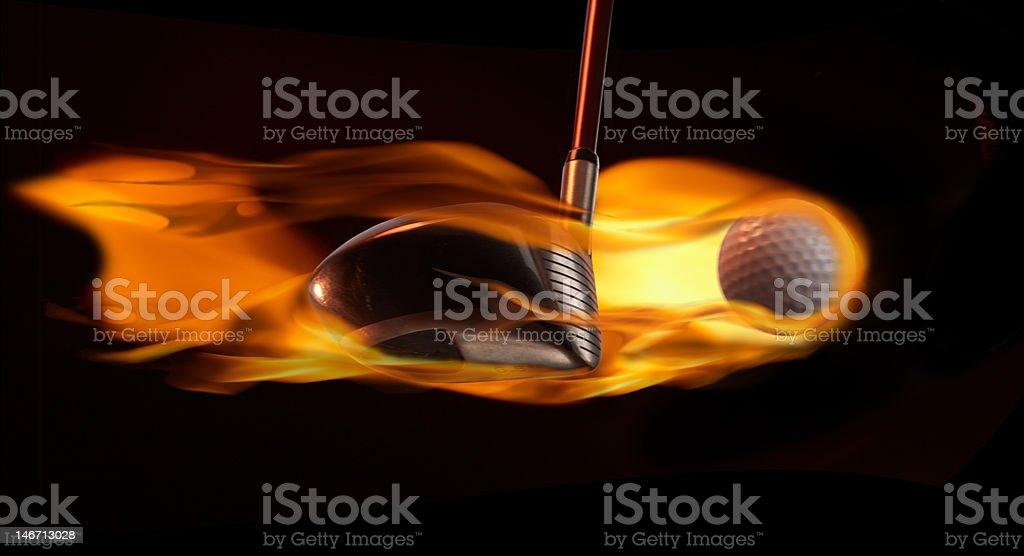 Flaming Golf Ball royalty-free stock photo