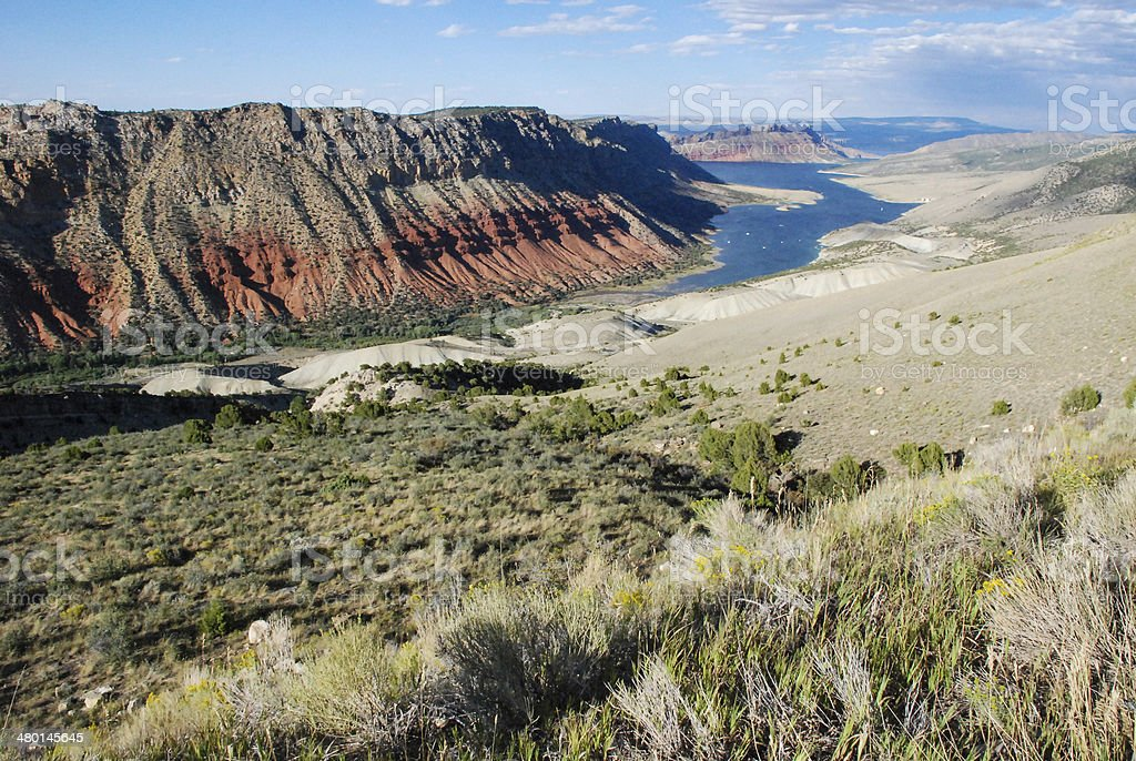 Flaming Gorge Reservoir Landscape view Utah stock photo