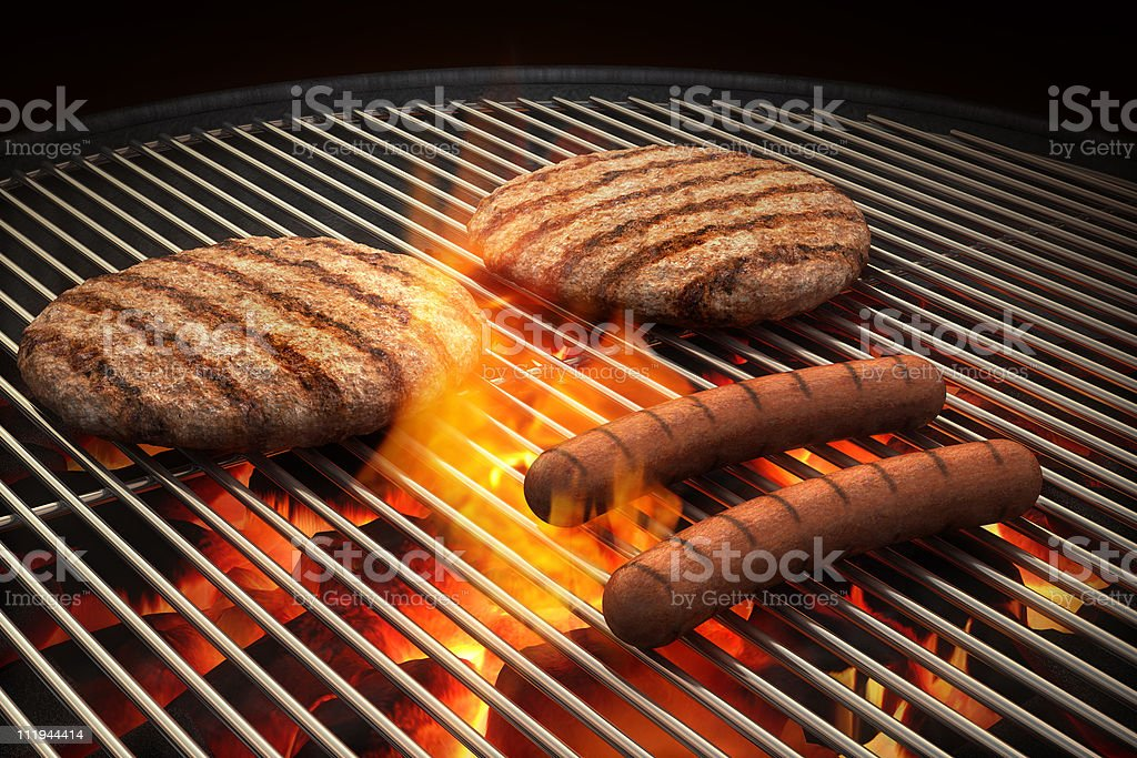 Flaming Grill royalty-free stock photo