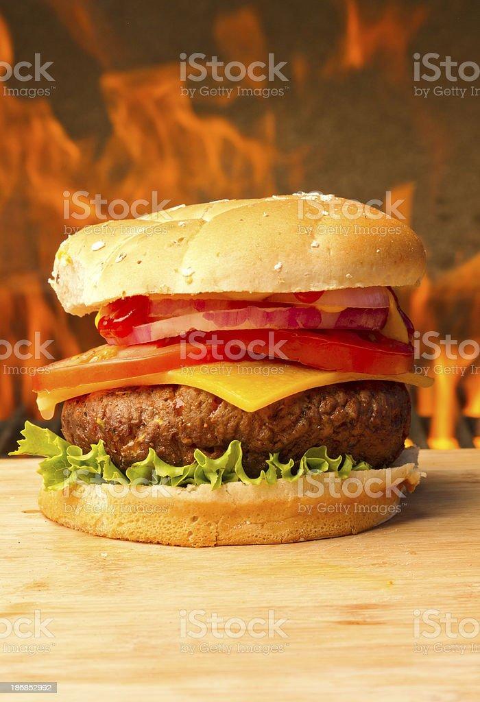 Flaming Hamburger royalty-free stock photo
