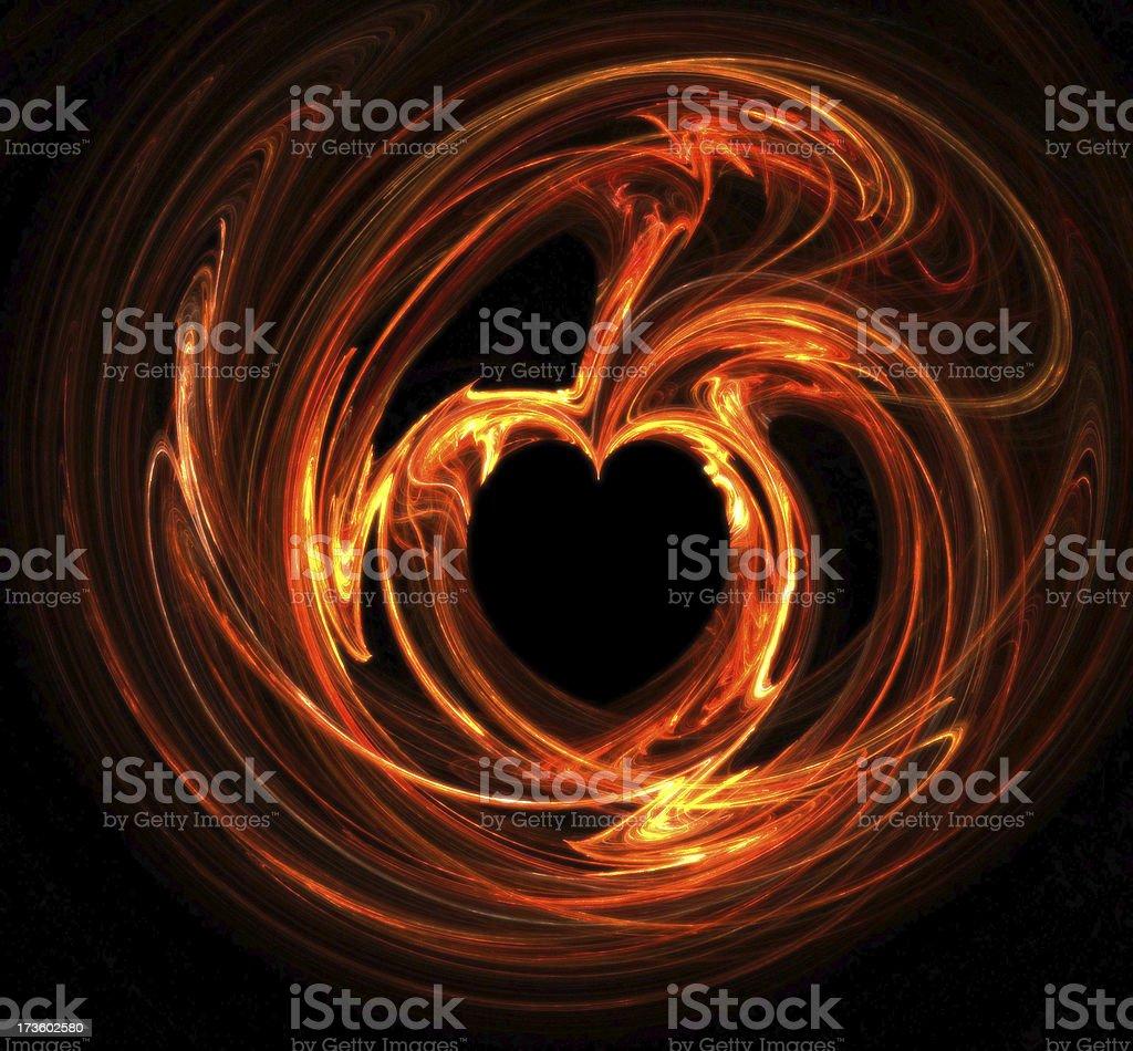 Flaming heart royalty-free stock photo
