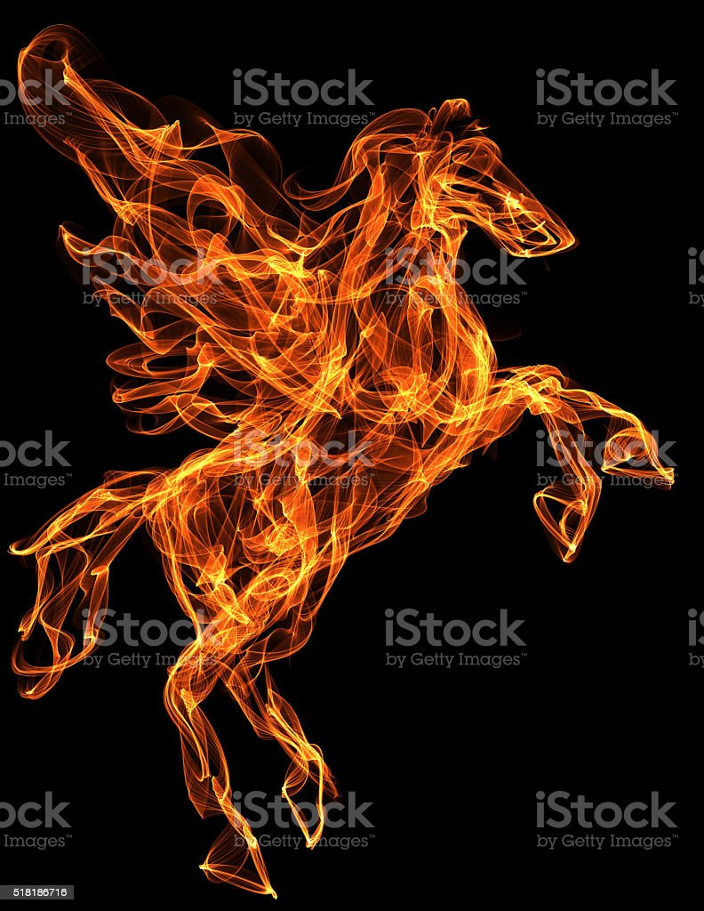 Flaming horse illustration stock photo