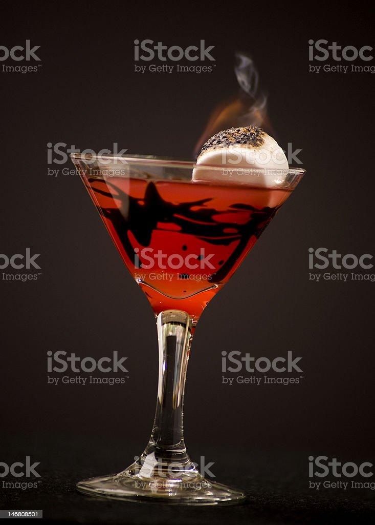 Flaming Marshmallow Martini stock photo