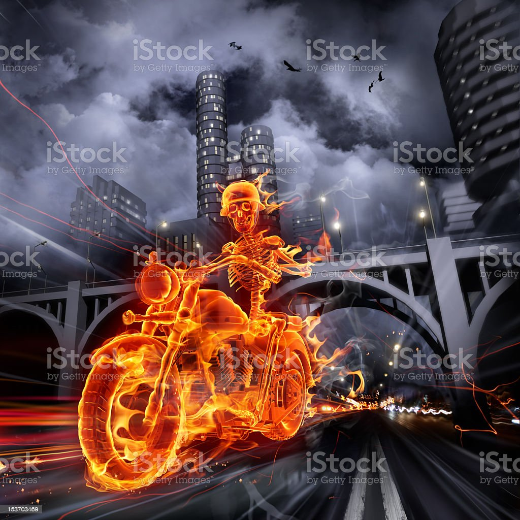 Flaming skeleton motorcycle rider in a dark urban landscape stock photo
