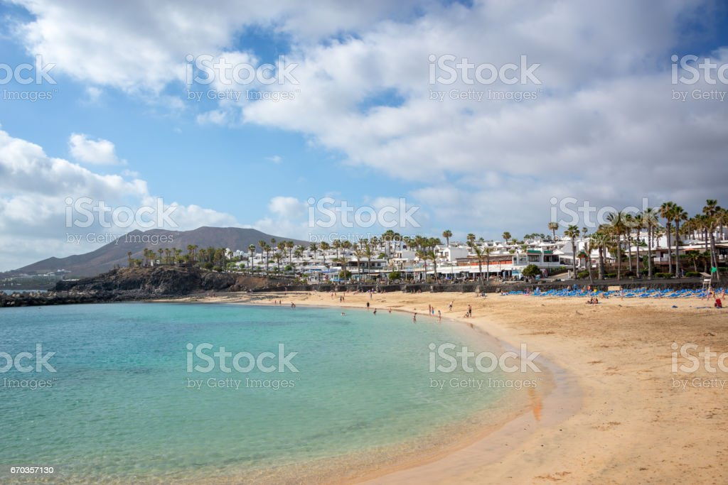 Flamingo beach in the town of Playa Blanca, in Lanzarote, Canary Islands, Spain stock photo