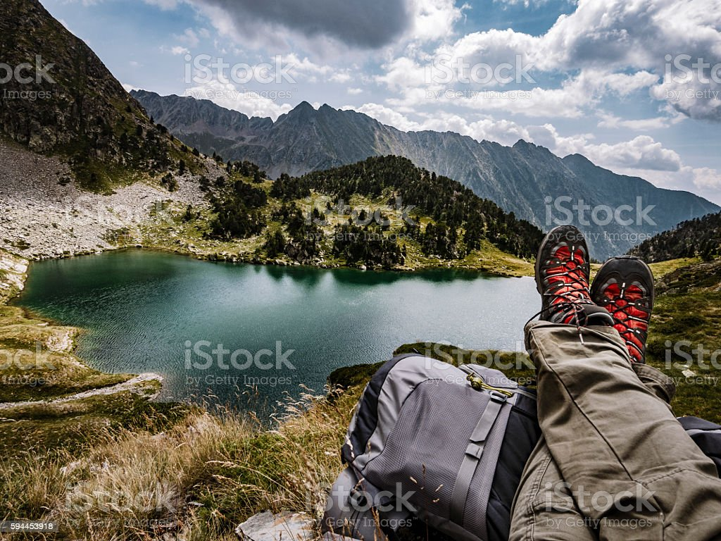 Flamisella glaciar lake Pirenees Catalonia Spain stock photo