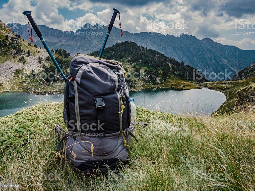 Flamisella glaciar lake Pirenees Catalonia Spain stock photo