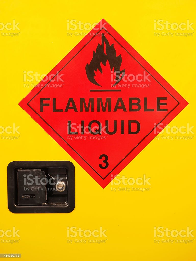 Flammable liquid cabinet door with warning sign and lock stock photo