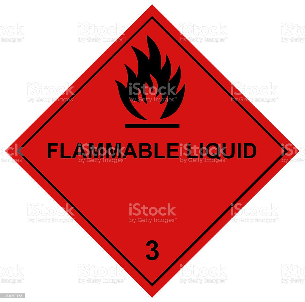 Flammable Liquids Diamond Label with Black Font stock photo