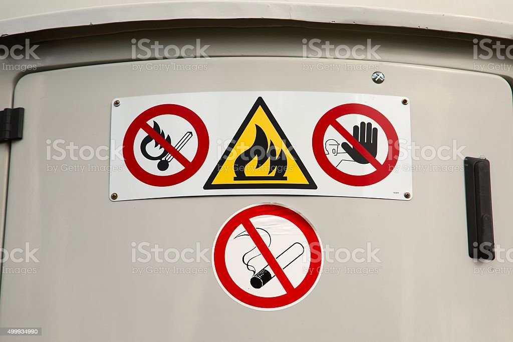 Flammable material container stock photo