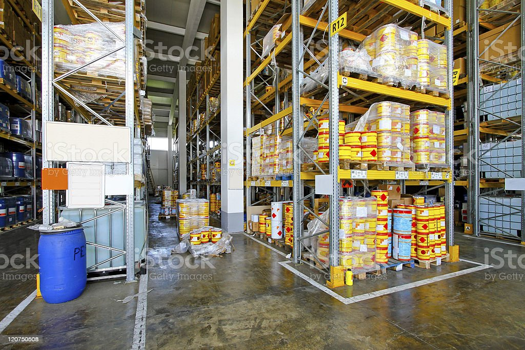 Flammable material warehouse stock photo