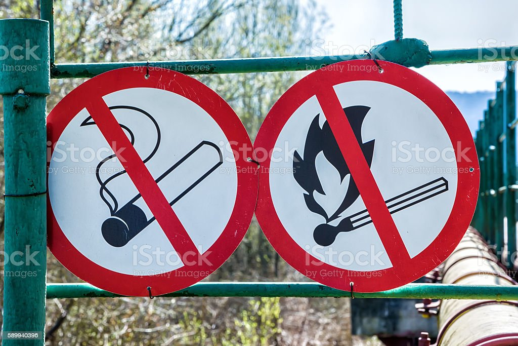 Flammable material warning signs stock photo